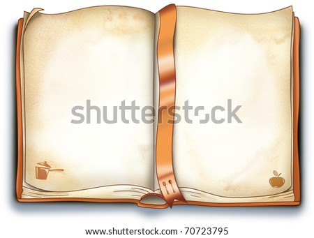An empty open book for your recipes or menu. Decorated with fork, spoon, apple and a boiling pot.