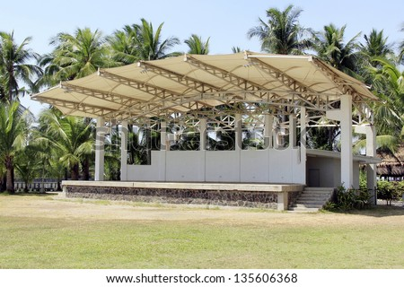 An empty outdoor stage in the park