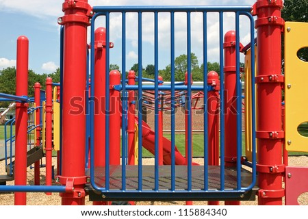 An empty playground set in a park - stock photo