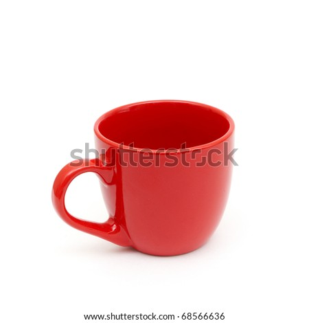 An empty red cup isolated on white