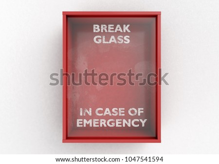 An empty red emergency box with an in case of emergency breakable glass on the front on an isolated background - 3D render