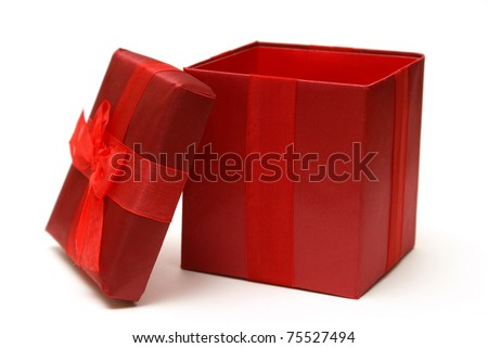 An empty red gift box with the lid off for easy insert of your merchandise in a photo editing program.