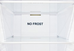 An empty refrigerator. Inside an empty, clean no frost refrigerator, a refrigerator compartment after defrosting.