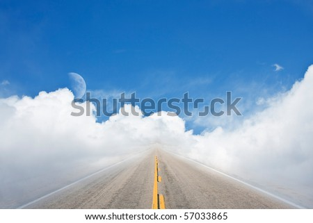 An empty road leading off into a surrealistic cloudscape.