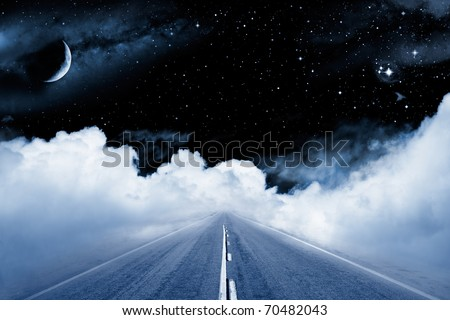 An empty road leading off into a surrealistic setting in outer space with stars and a crescent moon.