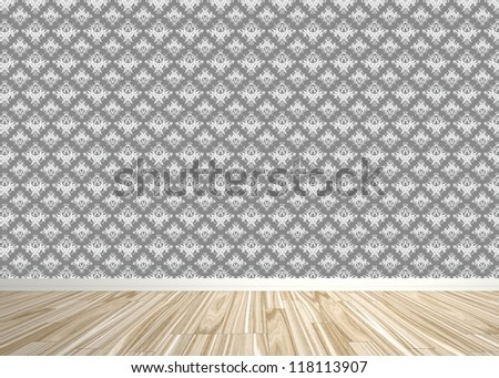 An empty room interior backdrop with wood parquet flooring and a damask style wallpaper pattern.