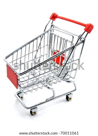 An empty shopping trolley cart on a white background