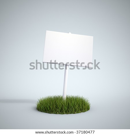 An empty sign on a patch of grass - stock photo
