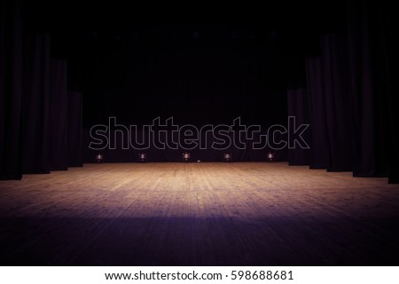 An empty stage of the theater, lit by spotlights before the performance #598688681