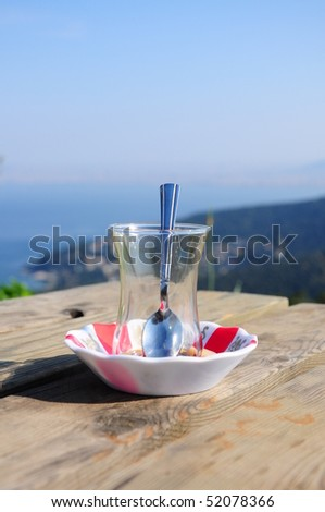an empty tea glass