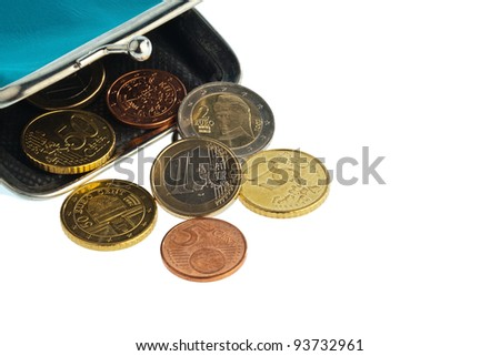 an empty wallet with a few euro coins. photo icon on debt and poverty