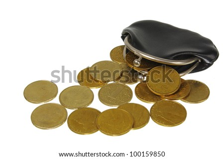 An empty wallet with  coins.