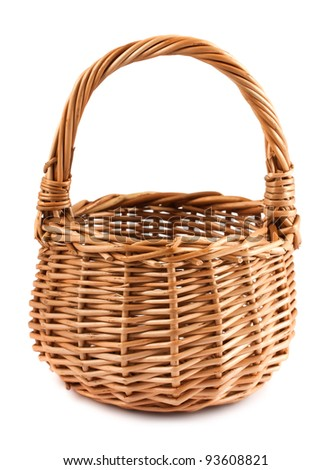An empty wicker basket isolated on white background