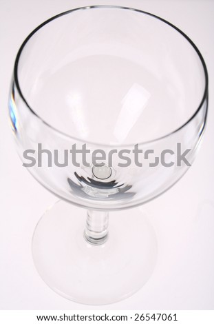 An empty wine glass isolated on white background