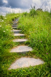 An enchanting stone staircase leads out of sight into the fairy garden meadows of Brigit's Garden in Oughterard, Ireland.