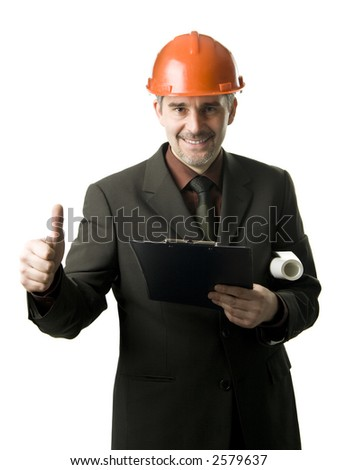 An engineer with thumb up, isolated on white