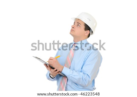 An engineer with white hard hat holding clipboard isolated on white background
