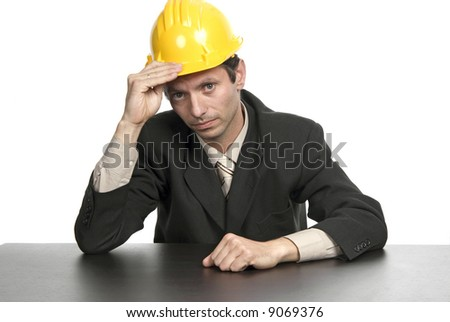 An engineer yellow hat, isolated on white