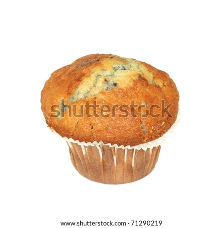 An English blueberry muffin isolated over a white background.