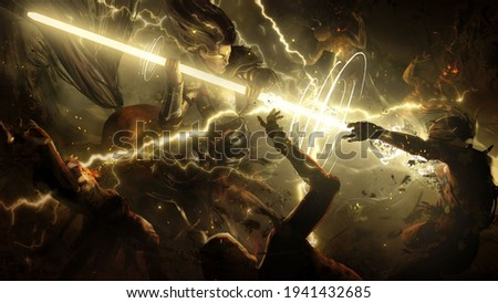 An enraged centaur charged into the crowd of undead with a magical glowing spear that emits a lot of lightning into the zombies . 2d illustration Foto stock ©