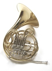 An entire french horn on white