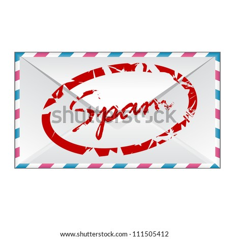 an envelope with spam isolated on white background