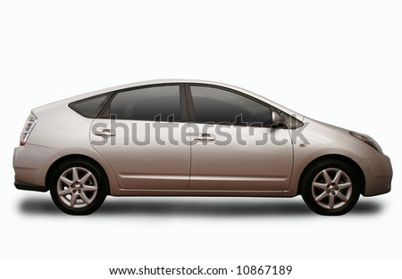 An environmentally friendly car, isolated on a white background