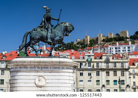 An equestrian statue of Dom Joao I, also known as John I of Portugal, is located in Figueira Square (or Praca da Figueira) in Lisbon, Portugal.