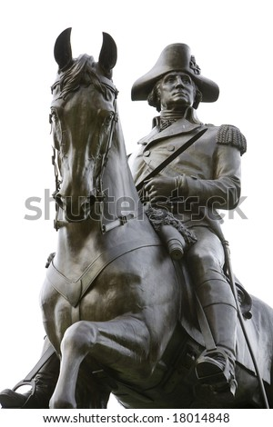 An equestrian statue of General George Washington on public display at the Boston Public Garden, a public park.