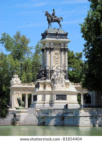 an equestrian statue of King Alfonso XII Retiro Madrid Spain