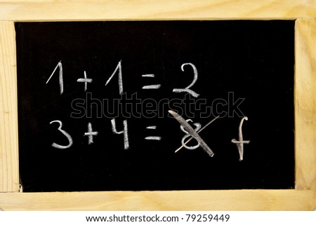an error in the calculation on a chalkboard