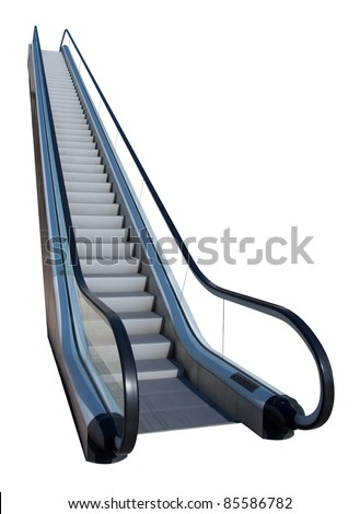 An escalator isolated on white - stock photo