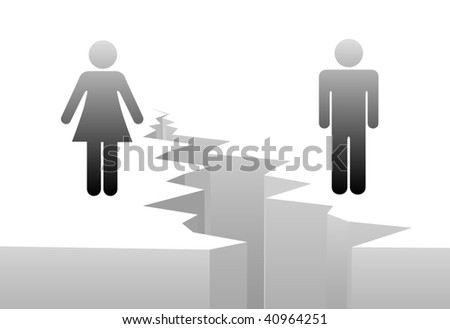 An estranged man and woman are separated by divorce or a gender gap.