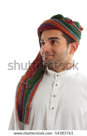 An ethnic  middle easter arab man smiling.  White background.