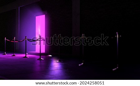An evening scene outside a nightclub entrance emitting a pink light and an empty queue demarcated with barrier posts and rope - 3D render Foto stock ©