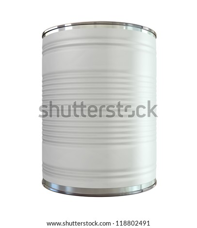 An everyday aluminum tin can with a blank generic label on an isolated background
