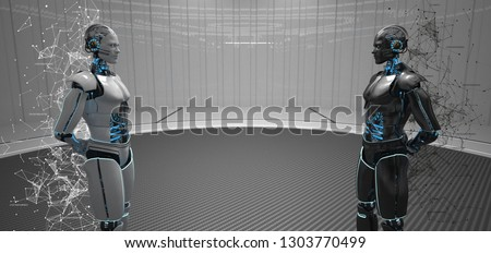 An evil and good robot in a futuristic space. 3d illustration.