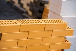 An example of brickwork. Yellow brick with voids.