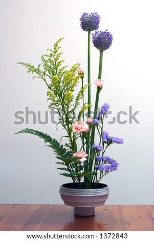 of Ikebana, the Japanese art of flower arrangement. - stock photo