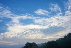 An example of stratus clouds formation. An image that can be used for nature theme background or weather topic.