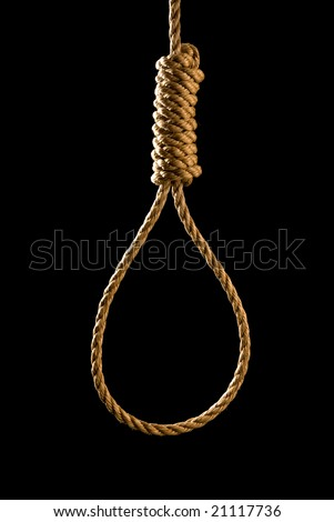 An execution or suicide noose isolated on black and backlit for a dark mood