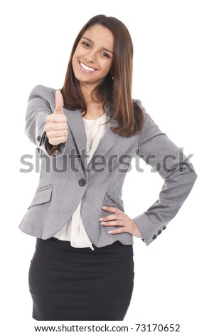 an executive woman making ok sign