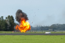 An explosion with flying debris