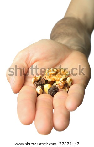 An extended hand offering mixed nuts and raisins.