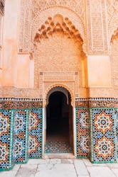 An external entrance of El Badi traditional palace in Marrakech.