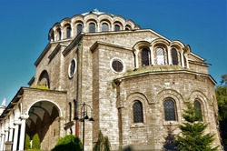 An external view of the architectural detail of the St. Kyriaki Cathedral Church in Sofia, Bulgaria.