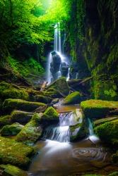 An extraordinary waterfall view deep in the forest. Dagpinar waterfalls, Bursa, Turkey.