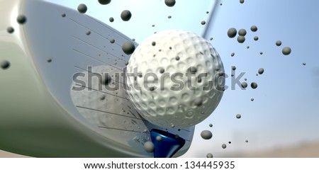 An extreme close up of a golf ball being hit off its tee with a club on a blue sky background