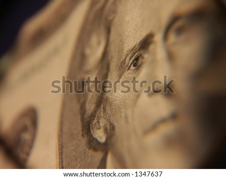 An extreme closeup of a US twenty dollar bill