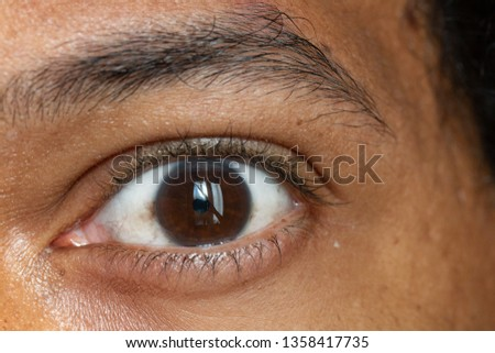 An extreme closeup view on the eye of an Asian man showing his brown iris, eyesight and optical concept. #1358417735